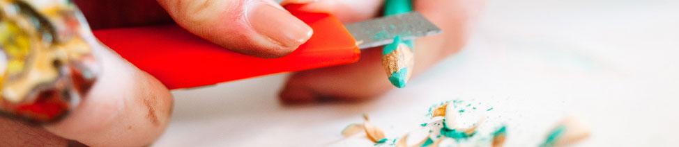 Knives for sharpening art pencils image.